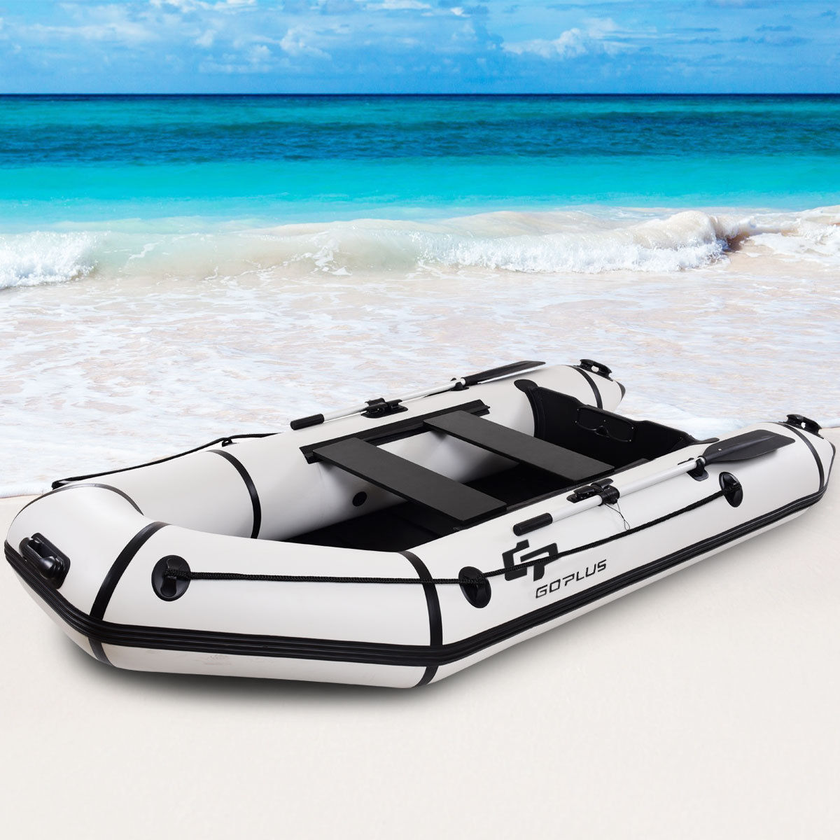 Goplus 4-Person 10FT Inflatable Dinghy Boat Fishing Tender Rafting Water Sports by Costway