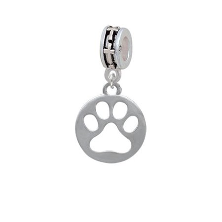 Cut Out Cross - Circle with Cut Out Paw - Cross Charm Bead
