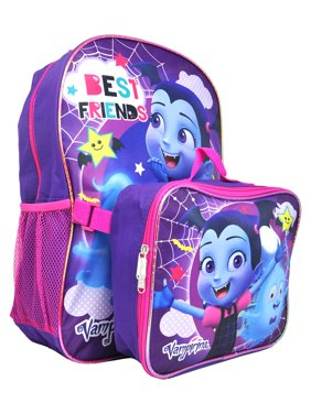 "Girls Vampirina Best Friends Backpack 16"" w/ Detachable Lunch Bag Purple"