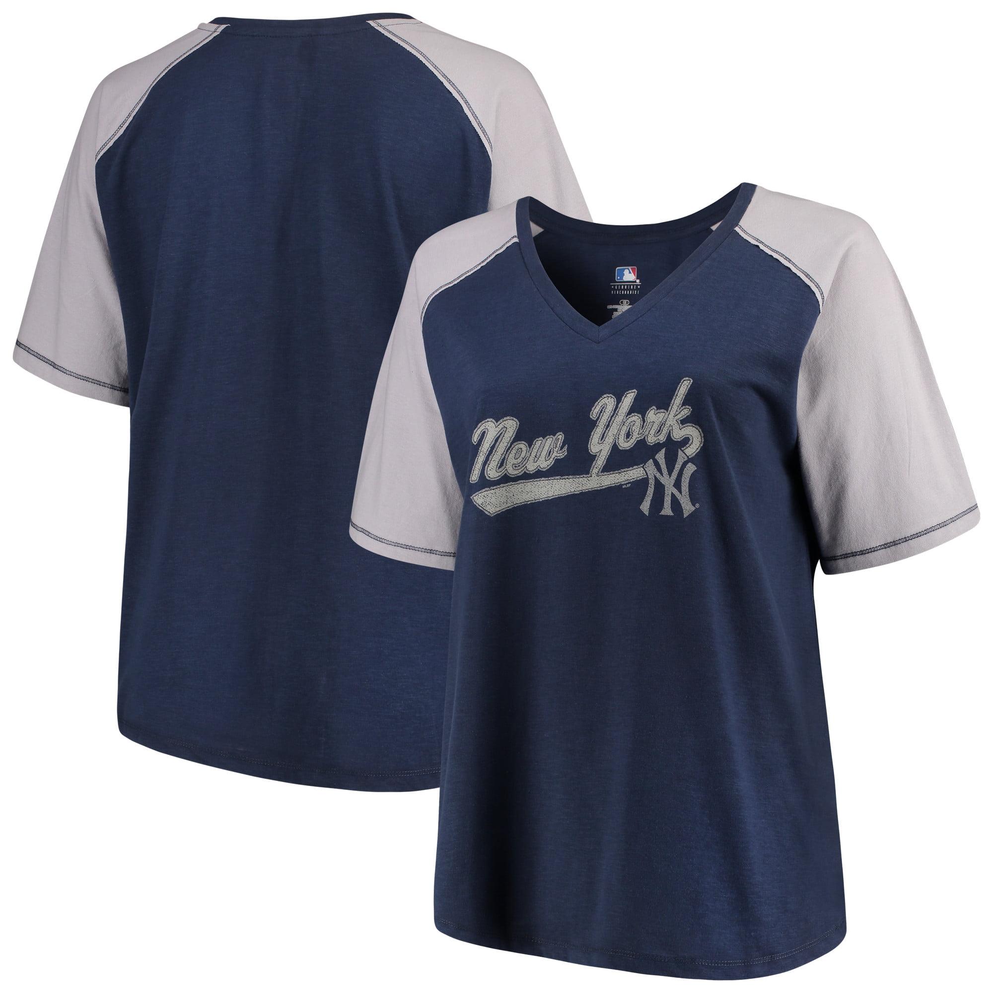 Women's Majestic Navy/Gray New York Yankees Plus Size High Percentage Raglan V-Neck T-Shirt