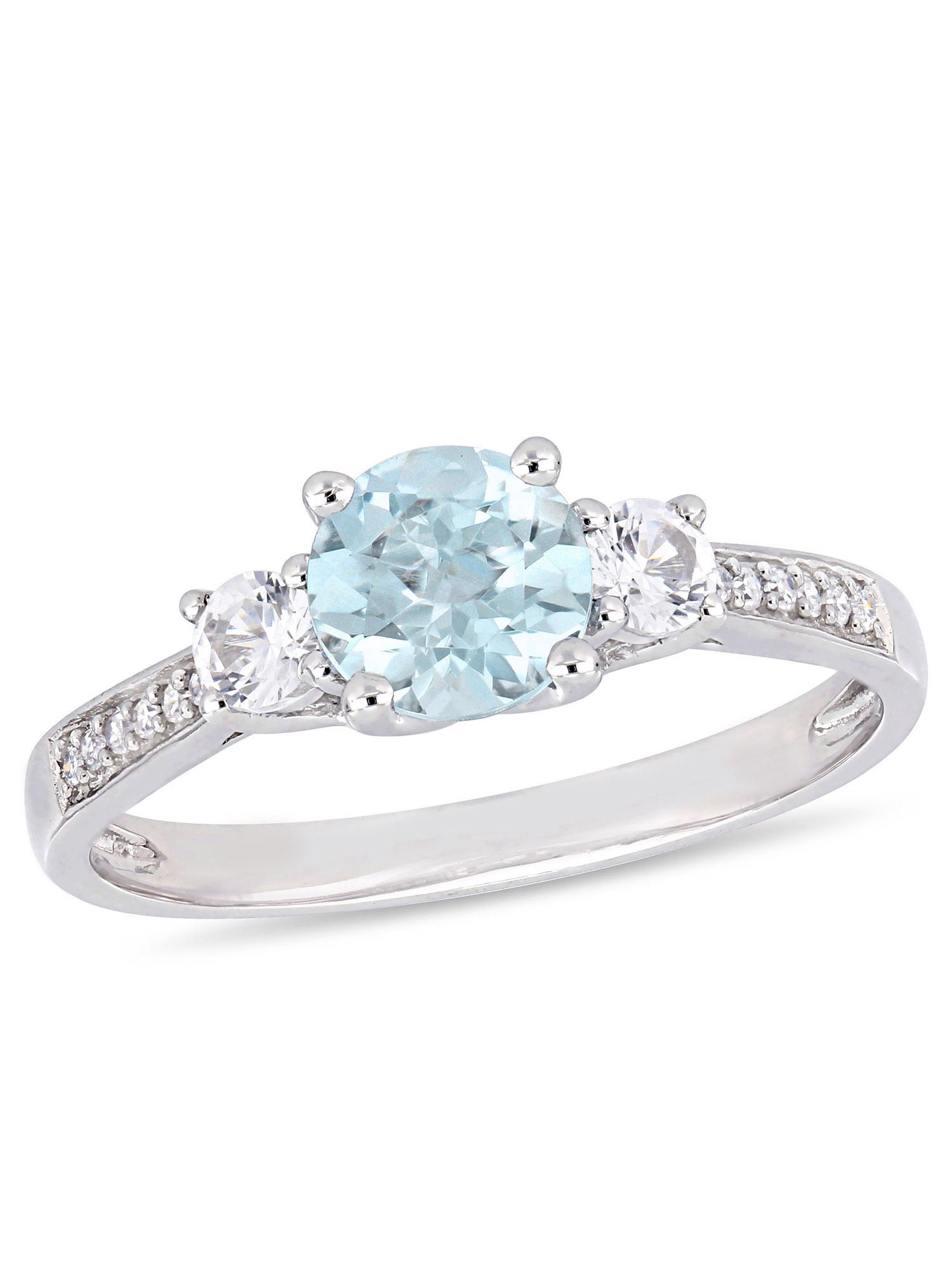 Tangelo 1 Carat T.G.W. Aquamarine, Created White Sapphire and Diamond-Accent 10kt White Gold Three-Stone Engagement Ring