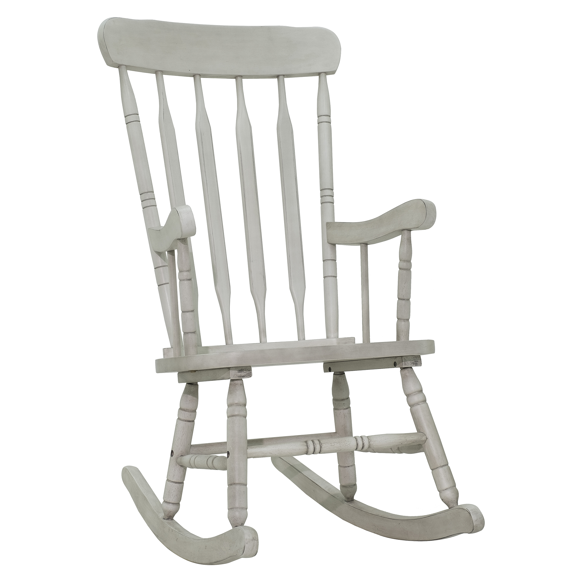 HOMCOM Rubberwood Indoor / Outdoor Porch Slat Rocking Chair - Antique White