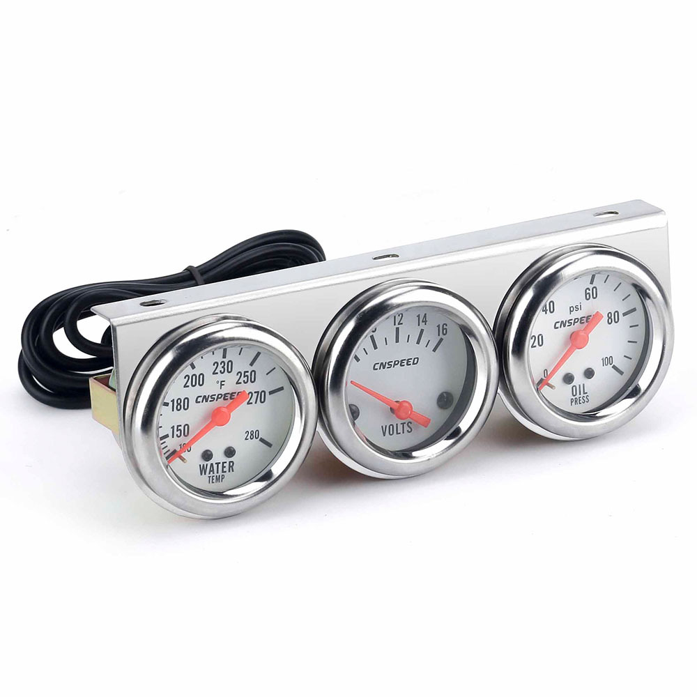 3 IN 1 Triple Gauge Kit Voltmeter Water Temp Oil Pressure Gauge Tachometer Triple Gauge Kit