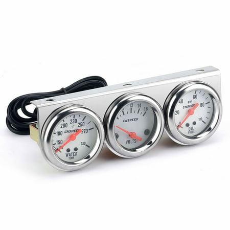Dwyer Differential Pressure Gauge - Universal Car 2'' 52mm Chrome Volt Water Temp Gauge Oil Pressure Gauge Triple 3 Gauge Set Gauges Kit