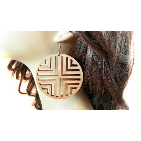 Hoop And Wood Earrings (Brown Wood Chevron Hoop Earrings 2.75 inch Hoop Earrings Dangle)