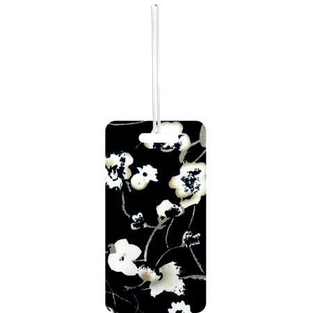 White Hibiscus Flower Print Design Standard Sized Hard Plastic Double Sided Luggage Identifier Tag