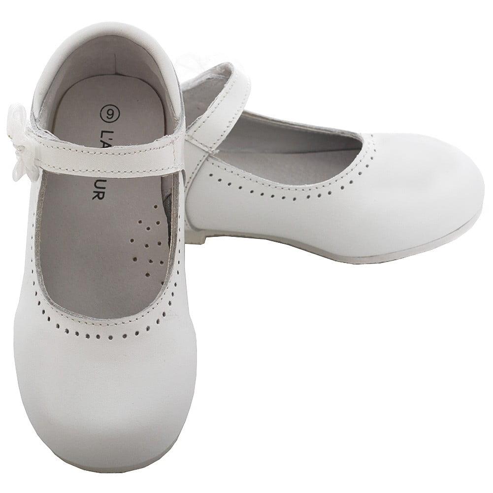 White Leather Flower Mary Jane Shoe
