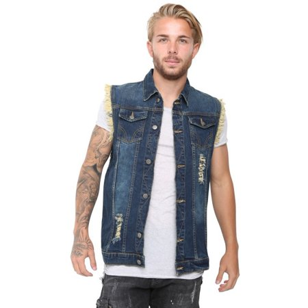 43dcbbc5c450 Skylinewears - Mens Hip Hop Sleeveless Pure Cotton Denim Vest Jackets Sky  Blue XX-Large - Walmart.com