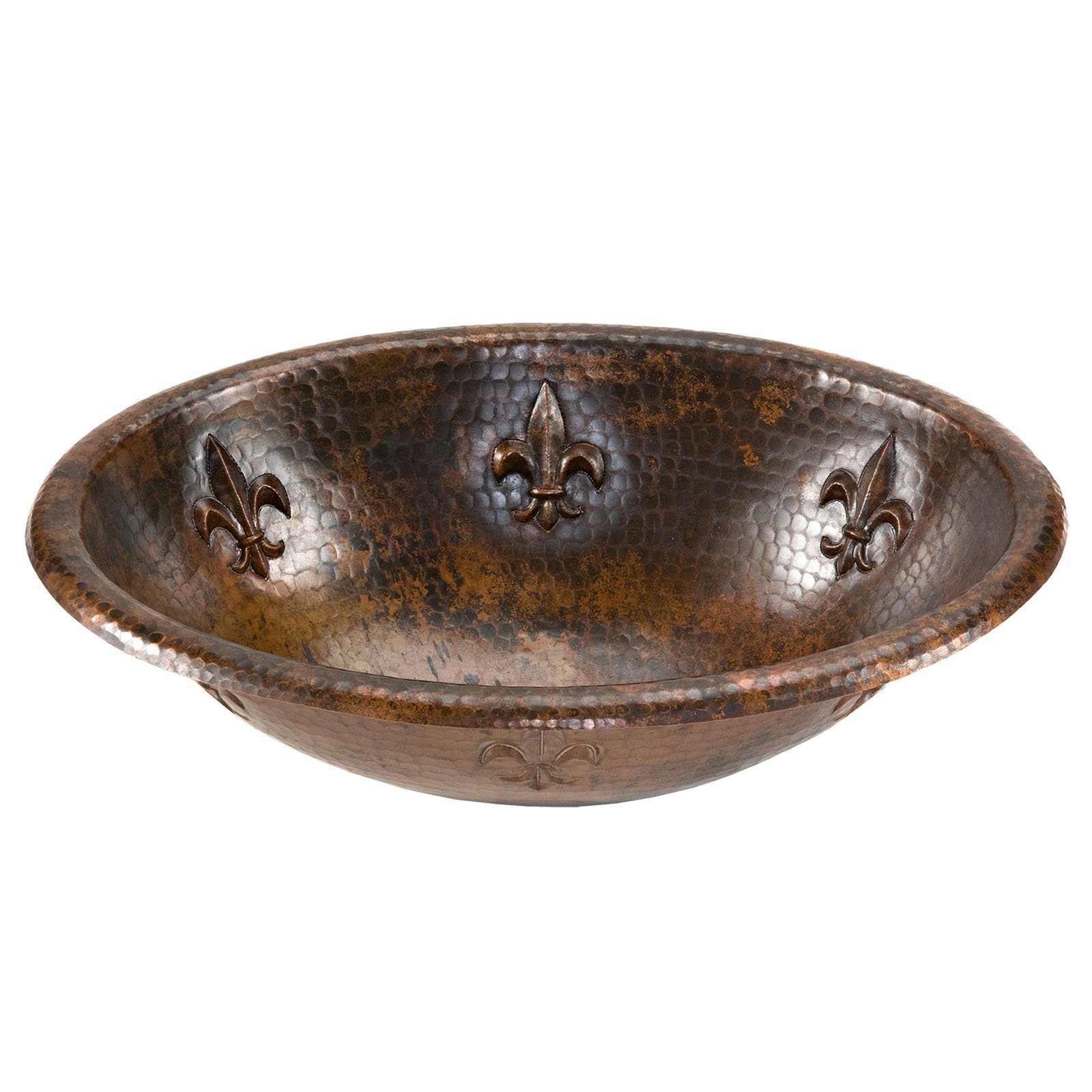 Premier Copper Products LO19RFLDB Oval Fleur De Lis Self Rimming Hammered Copper Sink