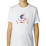 Cyclist with USA Flag Background - American Pride Boy's Cotton Youth T-Shirt