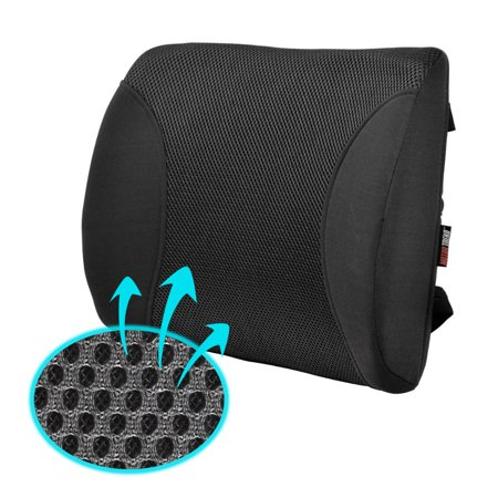 Motor Trend MeshBreeze Lumbar Back Support Pillow Car Seat Cushion (Black) Auto Back Support