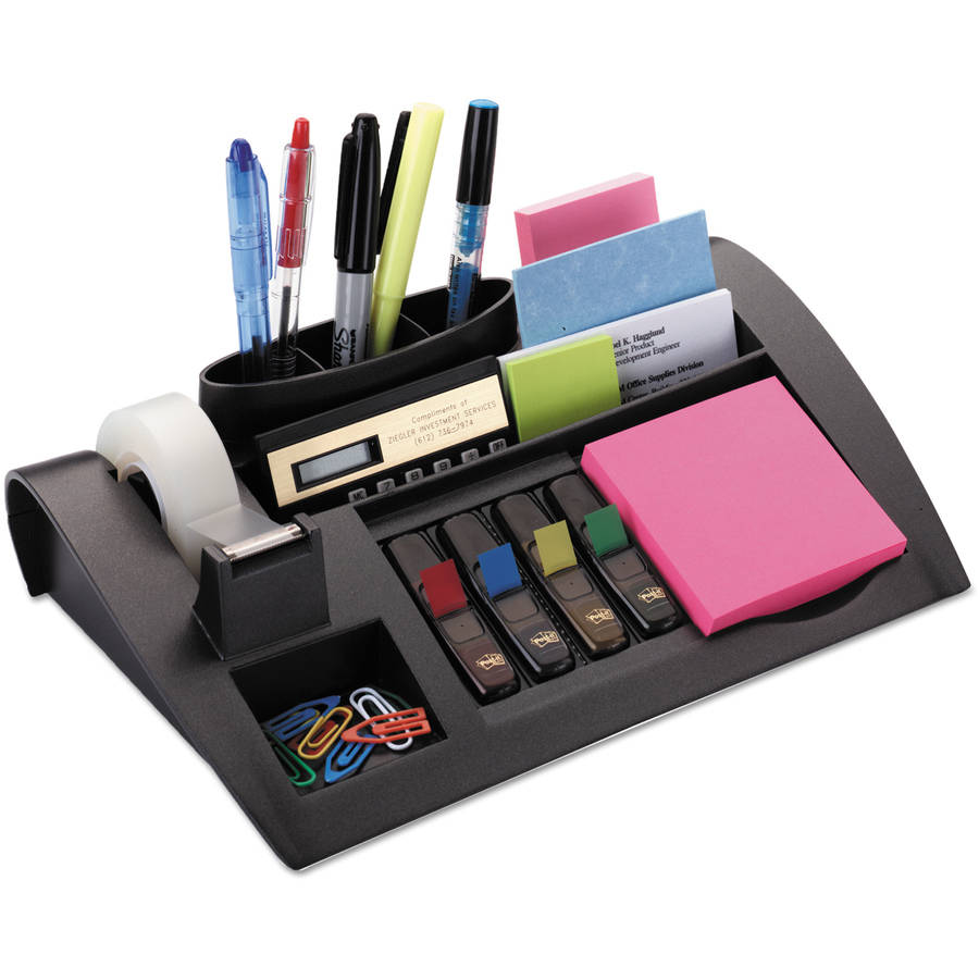 Post-it Notes Dispenser w/Weighted Base, Plastic, Gray