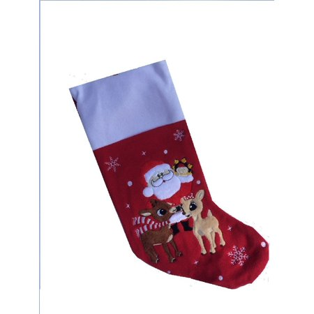 Soft Rudolph the Red Nosed Reindeer Embroidered Applique Stocking 18in Featuring Clarice & Santa, Polyester By Dan Dee Ship from US - Rudolph Stocking