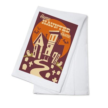 Halloween Dish Towels (Haunted House - Retro Halloween - Lantern Press Artwork (100% Cotton Kitchen)