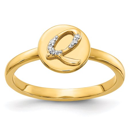 14K Yellow Gold Diamond Initial Q Ring (0.015Cttw)
