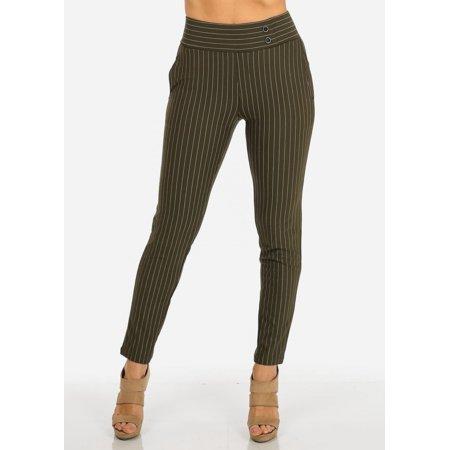 Womens Juniors Olive High Waist Pinstripe Stretchy Skinny Pants 10313W