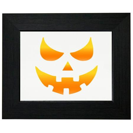 Evil Pumpkin Face Carve Out - Halloween Framed Print Poster Wall or Desk Mount Options