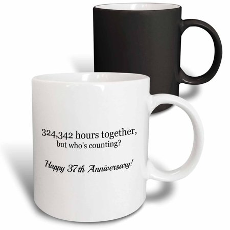 Happy Anniversary Cup - 3dRose Happy 37th Anniversary - 324342 hours together - Magic Transforming Mug, 11-ounce