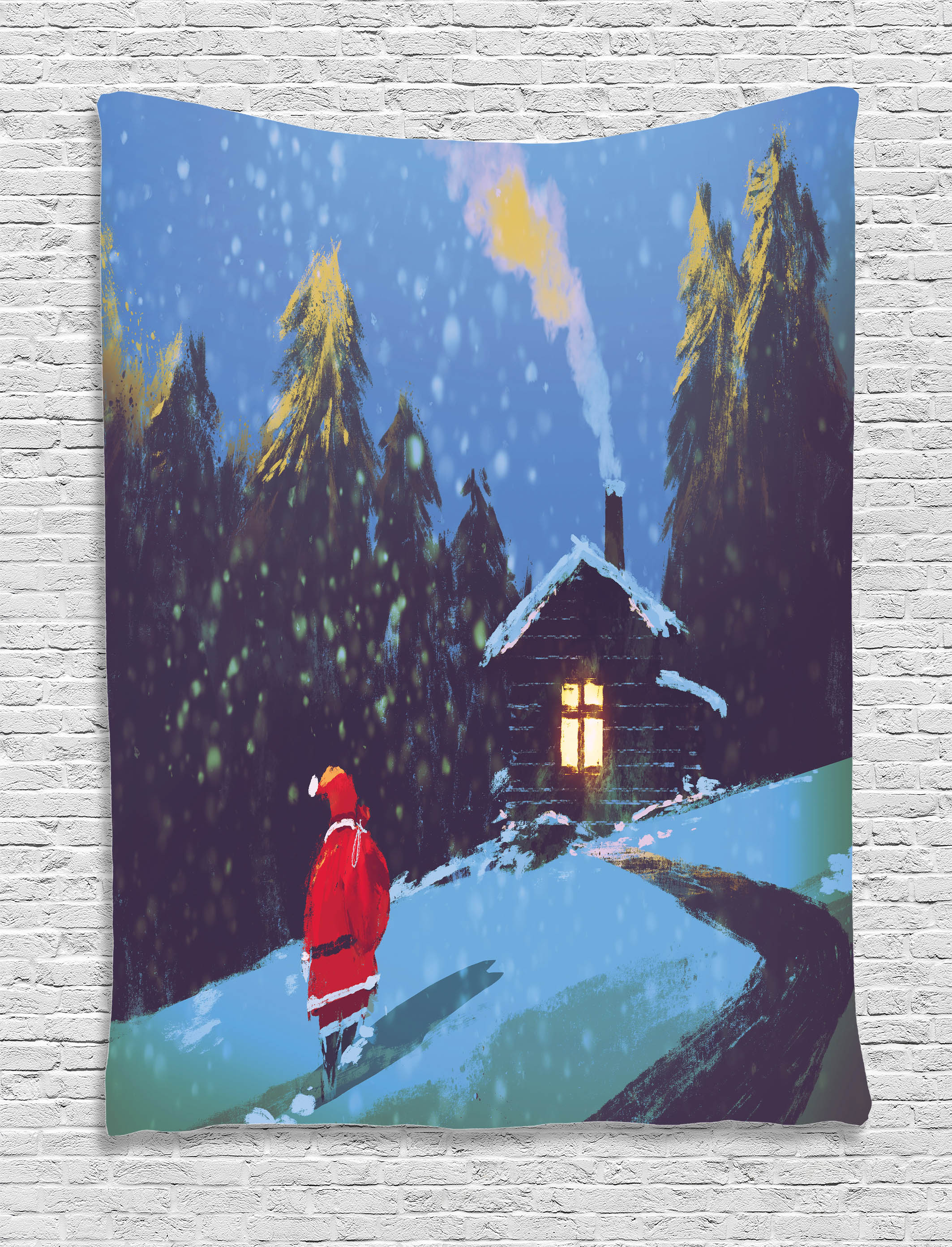 Fantasy Art House Decor Tapestry, Christmas Santa Claus Walking to the Mountain House Surrounded by Pines, Wall Hanging for Bedroom Living... by Kozmos