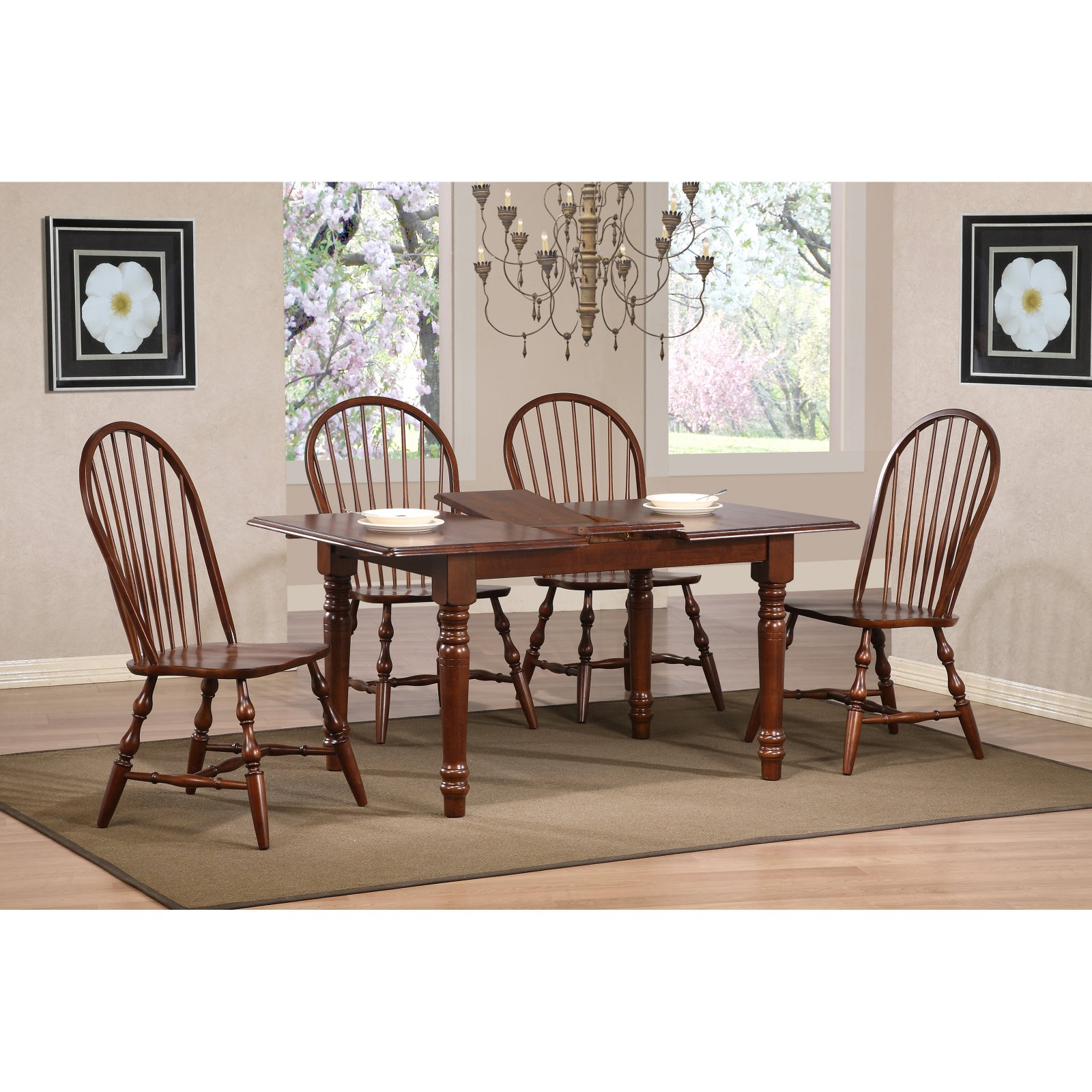 Sunset Trading 5 pc. Butterfly Dining Set with Spindleback Chairs - Chestnut