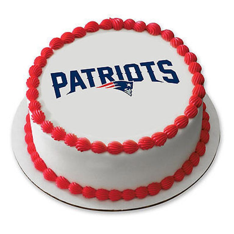 """NFL New England Patriots 7.5 Round Edible Cake Toppers 6 Count 2.25"""""""
