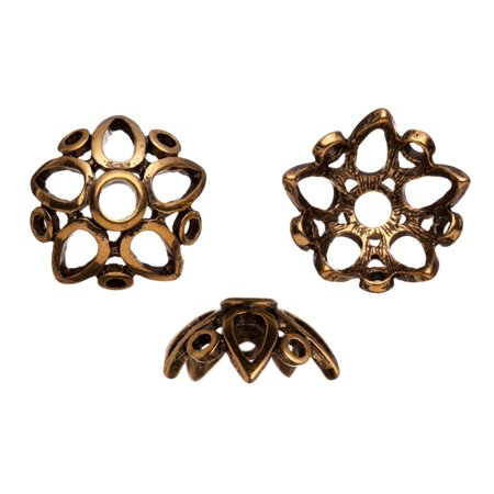Beaded Loop - Star Shape Formed With Open Drop And Loops Antique Gold-Finished Bead Cap Fits 18-20mm Beads 19x19mm Sold per pkg of 4pcs per pack
