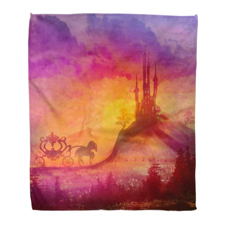 559 Sofa - KDAGR Throw Blanket Warm Cozy Print Flannel Pink Princess Carriage at Sunset Silhouette of Horse and Medieval Castle Comfortable Soft for Bed Sofa and Couch 58x80 Inches