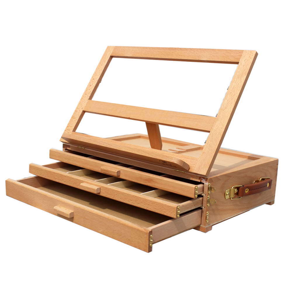 Ktaxon 3 Layers Wooden Artist Easel Folding Sketch / Paint Box Table Desk  Top Drawing Display