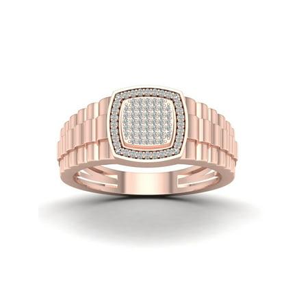 Mens 10k Gold Personalized Ring (1/4Ct TDW Diamond 10k Rose Gold Men's Ring )