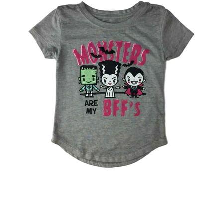 Infant Toddler Girls Monsters BFF Vampire Dracula Frankenstein Tee Shirt (Toddler Frankenstein)