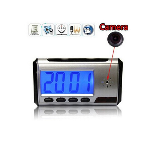 Spy Camera Alarm Clock Video Recorder Hidden Nanny Cam DVR Motion Detection