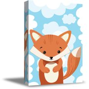 Awkward Styles Fox in Clouds Canvas Art Little Fox Canvas Decor Baby Girl Room Decoration Baby Boy Play Room Wall Art Ready to Hang Artwork for Kids Fox Canvas Illustration Fox Nursery Baby Room