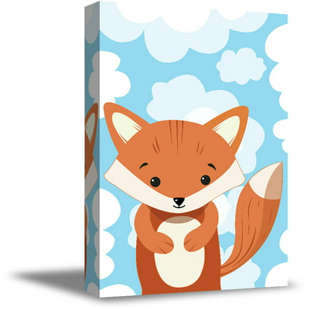 Awkward Styles Fox in Clouds Canvas Art Little Fox Canvas Decor Baby Girl Room Decoration Baby Boy Play Room Wall Art Ready to Hang Artwork for Kids Fox Canvas Illustration Fox Nursery Baby Room](Artwork For Kids)