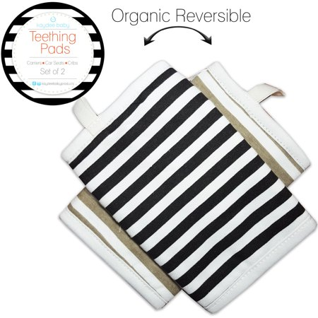 Kaydee Baby Organic Cotton Reversible Teething Chew Pads w/ Organic Fleece Inner Lining for Baby Carriers for Girls and Boys - 2 Pack - Variety of Options Available (Stripes) ? 100% Organic Cotton Front and Back; 100% Organic Fleece Inner LiningImportedPROTECTS YOUR INVESTMENT - Kaydee Baby Teething Pads are the perfect solutions to protect baby carriers, cribs, car seats, and many other items from the damages and dirt associated with teething babies. Rather than having to wash your carrier each time your baby chews on it, simply remove these teething pads and wash them instead.LOOPS TO KEEP ITEMS CLOSE BY - Each Kaydee Baby teething pad comes with a loop that can be used to attached pacifiers or toys so babies will always have their objects near by.REVERSIBLE ORGANIC COTTON WITH NICKEL FREE SNAPS AND POLYESTER FLEECE LINING FOR MAXIMUM ABSORBENCY - Each Kaydee Baby chew pad has a fashionable reversible design. Made out of organic cotton, with a fleece lining, the pad is a great teething pad while maintaining fashion. These are a perfect accessory to your baby carrier and also go well with our Kaydee Baby bandana drool and dribble bibs.FITS MOST NAME BRAND CARRIERS - Kaydee Baby drool pads fit most baby carriers including Ergo, Boba, Beco, and Infantino. Simply snap the nickel free snaps around the straps of the carrier and you are all set to go!UNIQUE AND FASHIONABLE DESIGNS - All Kaydee Baby dribble pads have high fashion designs that are a perfect compliment to yours and babies outfits. Throw in a cute KAYDEE BABY BANDANA BIB and your baby will be the talk of the town!