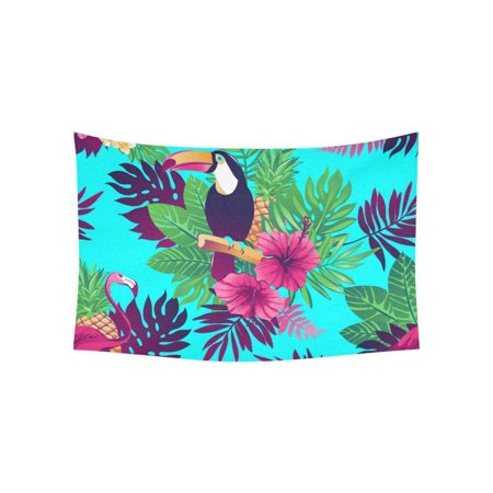 CADecor tropical flowers toucan flamingo Wall Hanging Tapestry 40x60 inches Custom Beadroom Home Decor](Custom Tapestry)