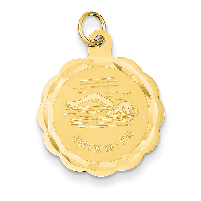 Roy Rose Jewelry 14K Yellow Gold Swimming Disc Charm by