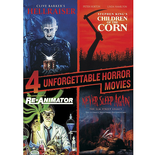 4 Unforgettable Horror Movies: Hellraiser / Children Of The Corn / Re-Animator / Never Sleep Again (Widescreen)