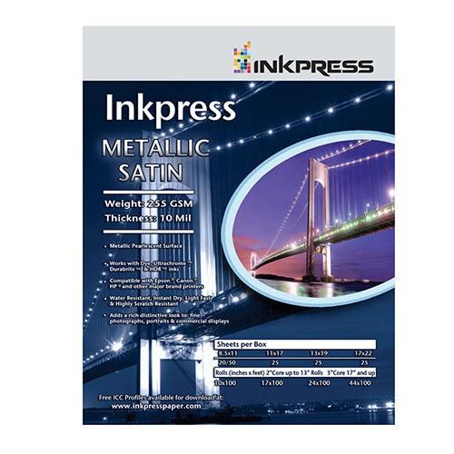 """Metallic Satin Inkjet Paper, 255 gsm, 10 mil, Metallic Pearlescent Surface, 4x6"""", 50 Sheets"""