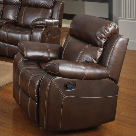 Kingfisher Lane Faux Leather Glider Recliner in Chestnut Chestnut Leather Recliner