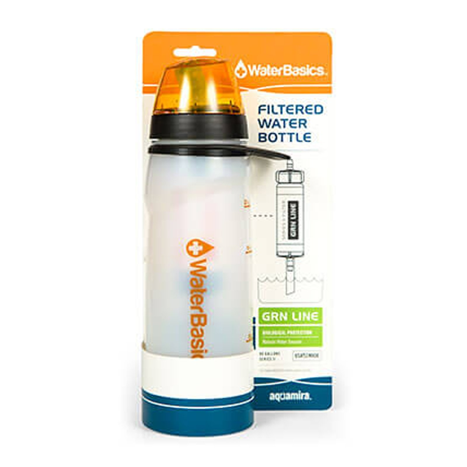 Aquamira Water Filter 20 Ounce Bottle with GRN Line Protection