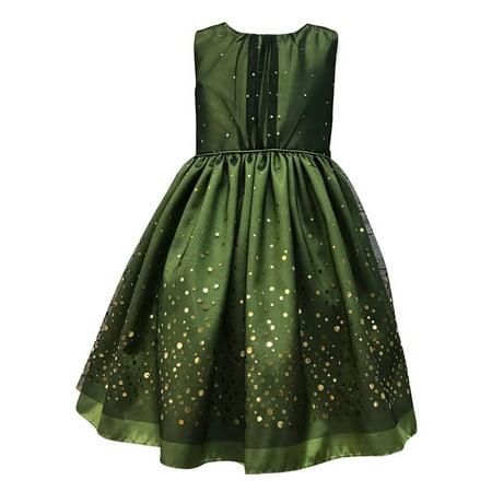 Girls Green Taffeta Mesh Sequined Christmas Dress