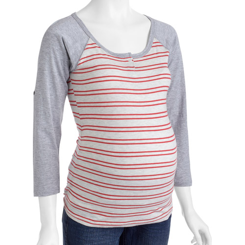 Oh! Mamma Maternity Striped Henley with Raglan Sleeves