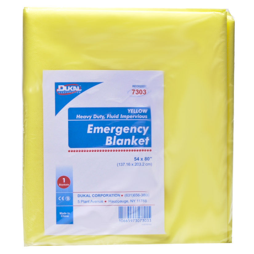 Yellow Color Emergency Blankets, Disposable, Dukal, 10 Counts MS-80800
