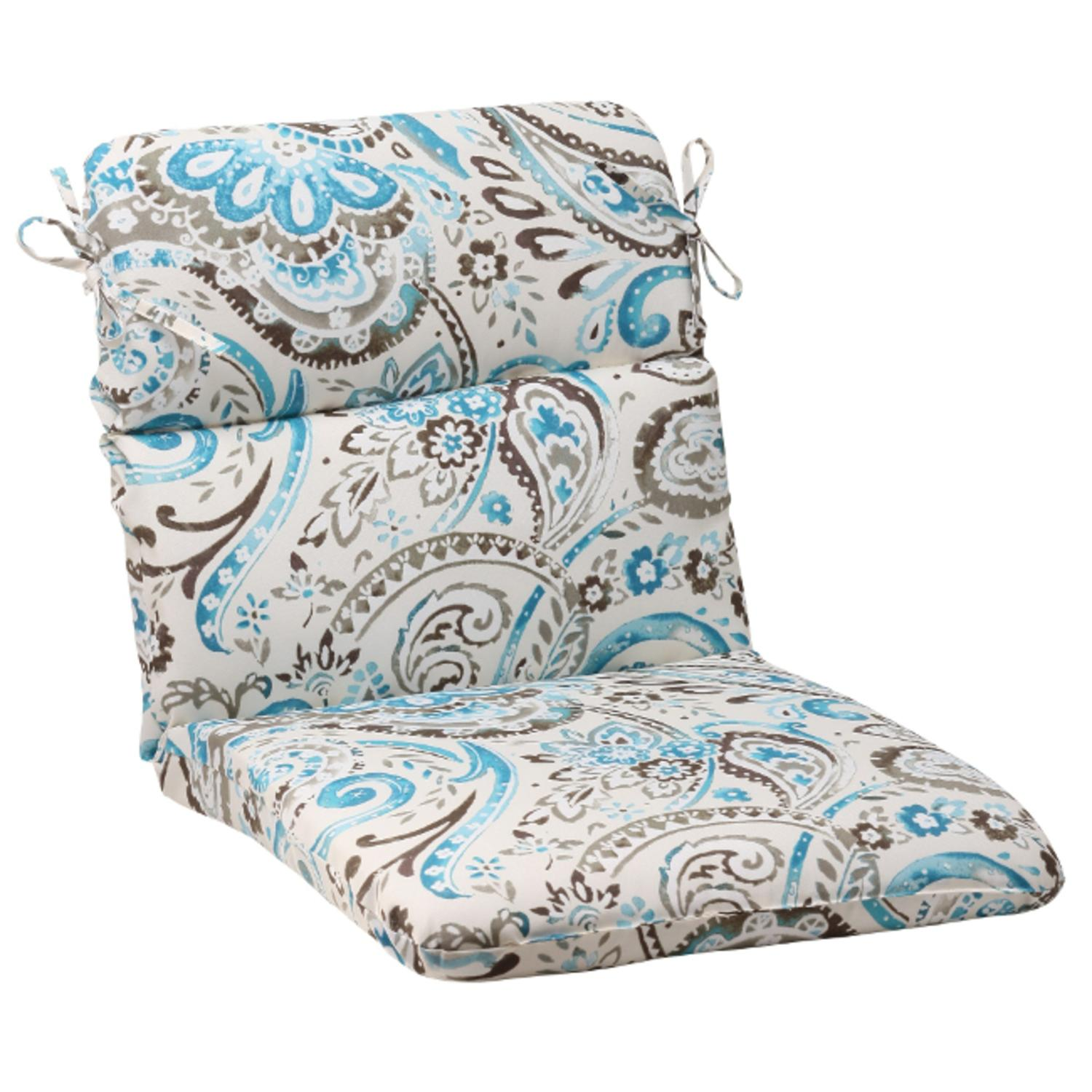 "40.5"" Turquoise & Gray Paisley Swirl Outdoor Patio Round Chair Cushion"