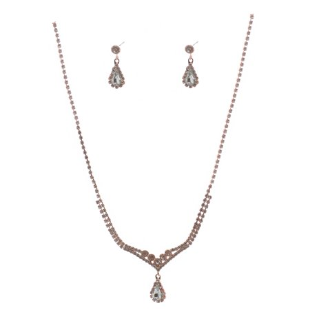 Fashion Jewelry Set Rose Gold Plating Necklace Dangle Earrings (High Fashion Jewelry Set)