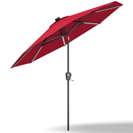 Gymax 9 FT Patio Waterproof Solar Umbrella LED Light Tilt Red - image 7 of 10
