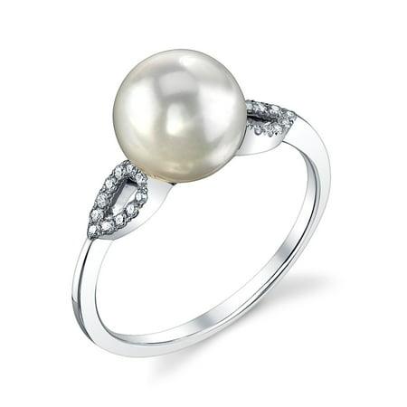 8.0-8.5mm Akoya Cultured Pearl & Diamond Callie Ring in 14K Gold ()