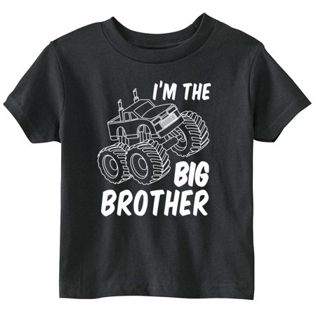 Lil Shirts Big Brother Monster Truck Youth and Toddler Shirt (Black, Medium)
