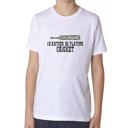 I'd Rather Be Playing Cricket With Bat Graphic Trendy Boy's Cotton Youth