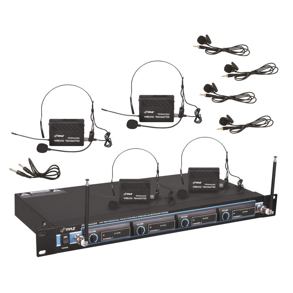 Pyle PDWM4400 - Rack Mount 4 Mic VHF Rack Mount Wireless Lavalie/ Headset System